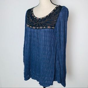 Free People Blue Top w Lace Embroidered Detail